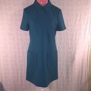 Tara Jarmon Sz 38 teal short sleeve midi dress